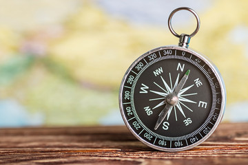 compass showing the direction on a map