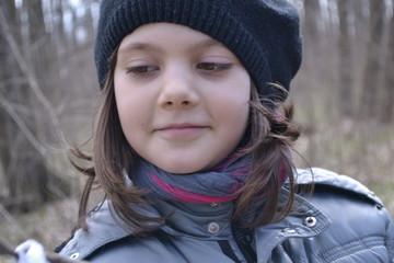 Portrait Of A Little Girl In The Woods, Nature, Fun, Youth