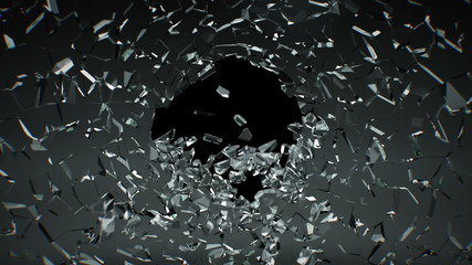 Shattered glass. Slow motion.