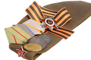 Soviet military cap, Saint George ribbon, medals of Great Patrio