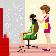woman in a beauty salon does a hair-do