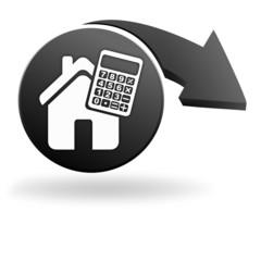 calculatrice crédit logement sur symbole noir