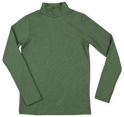Green turtleneck. Isolated on a white