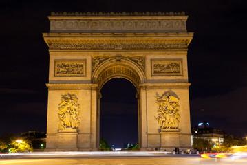 Paris, Triumphal arch at night