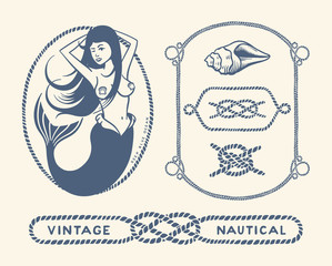 Variety of nautical vintage illustration and decorative frames