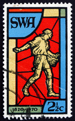 Postage stamp South West Africa 1970 Sower, Stained Glass Window