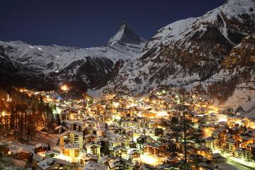 Zermatt and Matterhorn at Dusk
