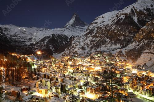 Zermatt and Matterhorn at Dusk - 64273252
