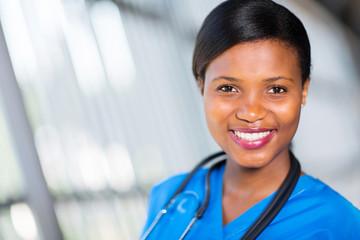 young african nurse close up