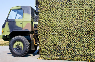 military vehicle truck with camouflage