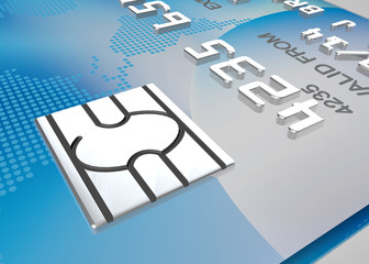 security computer chip close up on a credit card