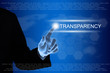 business hand clicking transparency button on touch screen