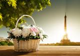 flowers in basket and Eiffel tower, Paris