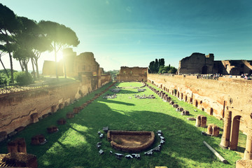 Ruins of Stadium Domitanus at the Palatine Hill in Rome, Italy