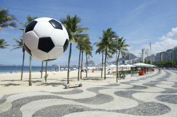 Football Soccer Ball Copacabana Boardwalk Rio Brazil