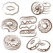 donut doodles set