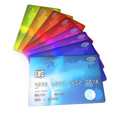 close up 3d render of a group f different coloured credit cards