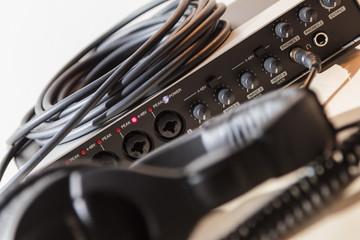 Audio interface and headphones, home studio - enhanced colors