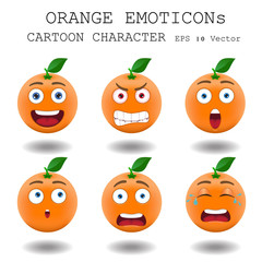 Orange emoticon cartoon character eps 10 vector