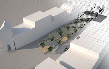 Piazza Progetto Pedane Architettura Wireframe