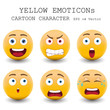 Yellow emoticon cartoon character eps 10 vector