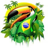 Fototapety Toco Toucan with Brazil Flag
