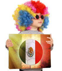Child with Mexican soccer background