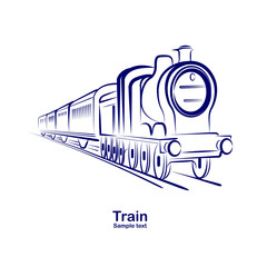 passenger railway historic steam train  vector.illustration