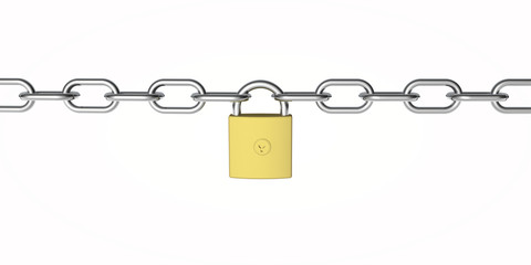 secure padlock and chain from the front