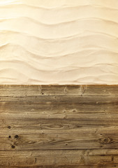 Wooden planks with sand