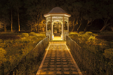 Gazebo in park at night
