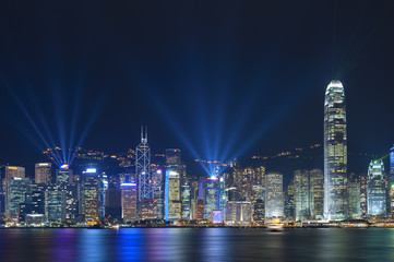 Laser show in Victoria Harbor of Hong Kong