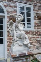 Sculpture of angel in garden