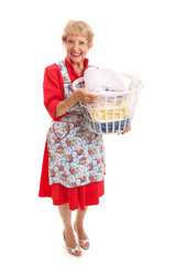 Retro Senior Lady - Laundry