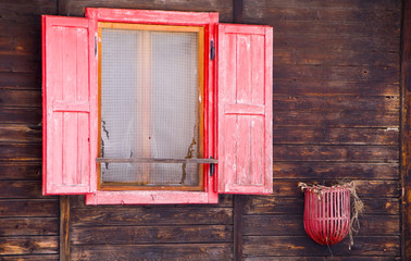 Red wooden window