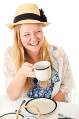 Tea Party Teen Laughing