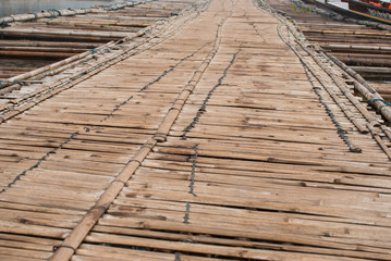 Bamboo bridge across the river in Sangkhlaburi kanchanaburi Prov