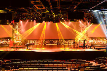 Stage With Lights and Piano