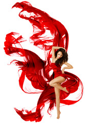 Woman dancing in red dress, fashion model waving dance