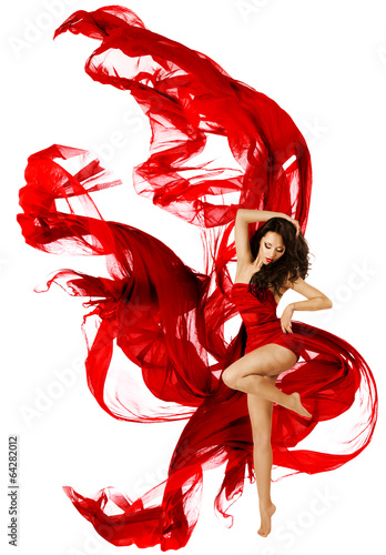 Canvas Dans Woman dancing in red dress, fashion model waving dance