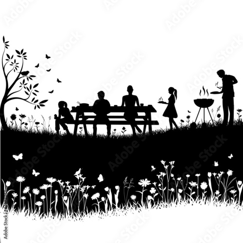 bbq session vector silhouette - 64282468