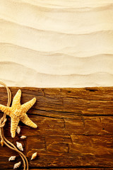 Summer beach concept with wooden planks