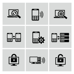 Mobile and communication icons,vector