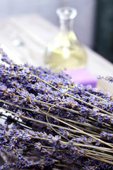 Mix of lavender flowers and cosmetic