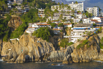 View on rocky coast of Acapulco