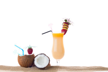 Tropical cocktail on the sand