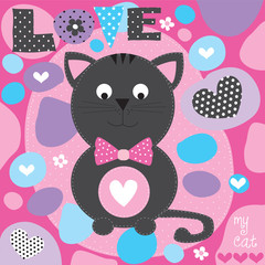 cute love cat vector illustration