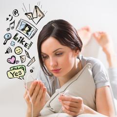 Woman smartphone chatting friends social media