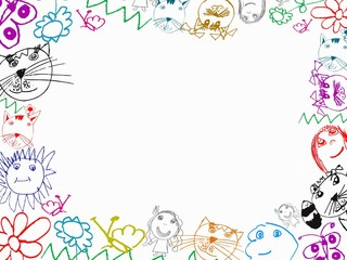 colorful children's drawings frame background