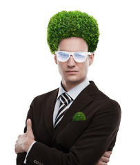 Man greenery head loving nature care ecology